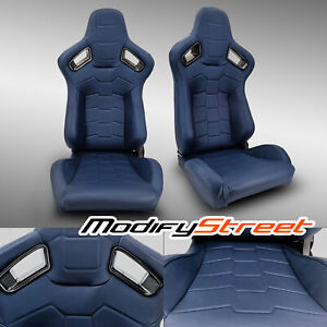 2 X Blue Pvc Main Leather Left Right Racing Bucket Seats Pair