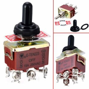 Toggle Switch 6 Pins 3 Position Momentary on off on Waterproof Cap Kit Us