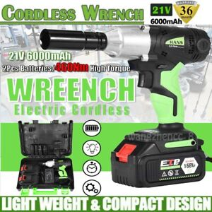 2x Batteries 1 2 Cordless Electric Impact wrench Gun Drill Tool Fast Charger