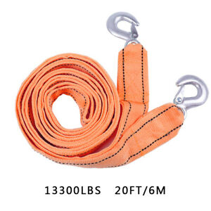 6 Tons 2 Layer Heavy Duty Car Recovery Tow Rope Strap W Hooks 20ft Towing Cable