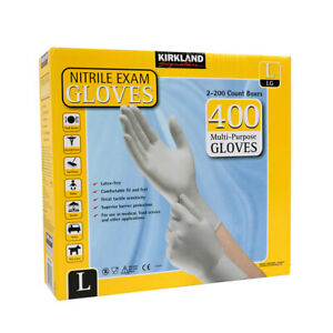 Nitrile Gloves Kirkland 2x200 Count Boxes 400 Multipurpose Gloves Size L