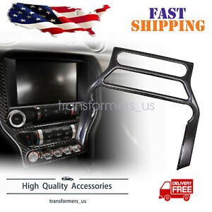 Carbon Fiber Interior Cd Panel Decor Cover Trim Fit For Ford Mustang 2015 2019