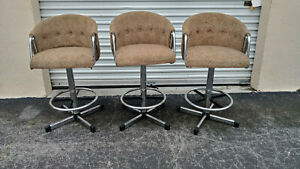 Set Of 3 Vintage Mid Century Modern Tweed Tufted Chrome Swivel Bar Stools