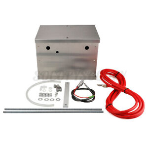 Universal Complete Aluminum Battery Tray Box Relocation Kit Polished Billet Race