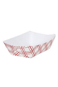 Cucinaprime Paper Red Check Food Tray 1 4 Lb Capacity 250 Piece