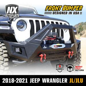 Adaptable Front Bumper For 18 21 Jeep Wrangler Jl Jlu Led Lights Winch Plate 4pc