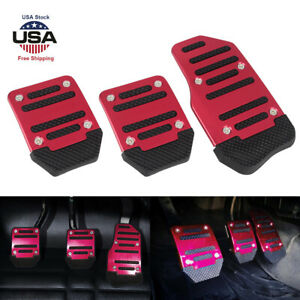 3pcs Car Universal Aluminum Manual Transmission Non slip Car Pedal Cover Set Red