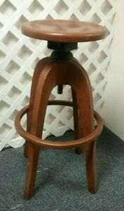 Antique Oak Architectural Drafting Stool Very Nice