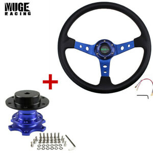 13 5 Steering Wheel With Quick Release Adapter For Racing Modified Car Blue