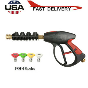 Water Gun High Pressure Power Washer 4000 Psi 4 color Nozzles Tips Car Cleaning