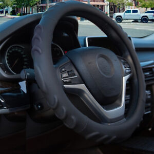 Car Steering Wheel Cover Leather Pu Sports Non slip Breathable Black 14 5 15in