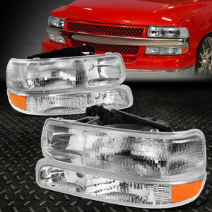 For 99 06 Chevy Silverado Suburban Tahoe Gmt800 Chrome Headlights Bumper Lamps