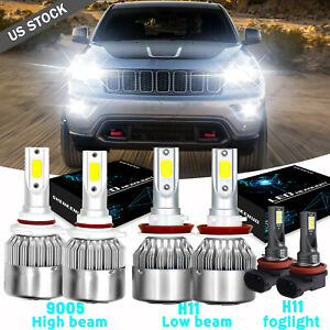 For Jeep Grand Cherokee 2014 2015 2016 2018 6 Led Headlight Fog Light Kit White