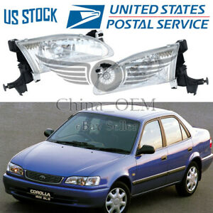 Projector Headlight Pair For 1998 1999 2000 Toyota Corolla Headlamps Replacement
