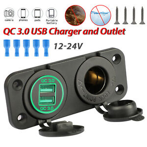 Dual Qc3 0 Usb Green Led Marine Boat Car Voltmeter 12v Socket 2hole Panel Switch