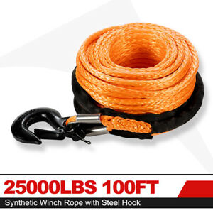 Synthetic Winch Rope 25000lbs 100ft Winch Line Cable W Steel Hook Off Road 4wd
