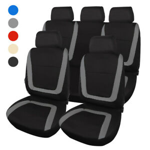 9pcs Universal Car Seat Covers Full Set Front Rear Protector For Most 5 Seat Car