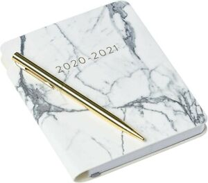 Eccolo Pocket 18 Month Planner Marble Leatherette Flexible Covers With Pen
