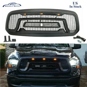 Rebel Style Front Grille Mesh Grill For Dodge Ram 1500 2013 18 W led Lights