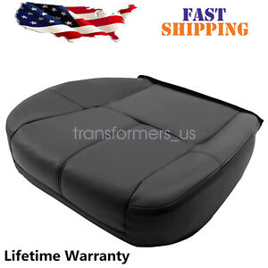 For 2007 2014 Chevy Silverado Avalanche Driver Bottom Leather Seat Cover Black