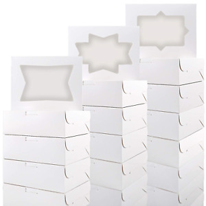 24pcs Cookie Boxes With Window White Bakery Boxes For Cookies Candies And Pastri