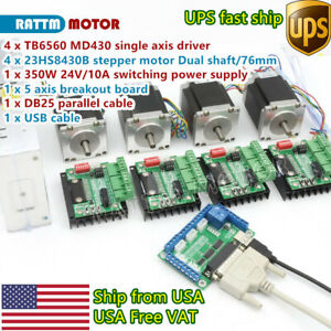 usa cnc 4 Axis Nema23 Stepper Motor 270oz in 3a Driver Board Md430 Power Supply