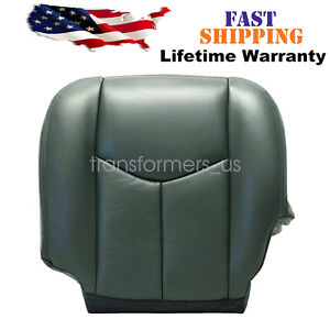 For 2004 2005 2006 Gmc Sierra 1500 2500hd Driver Bottom Leather Seat Cover Gray