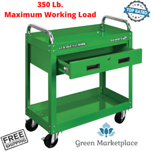 Service Mobile Tool Cart 30 In With Locking Storage Drawer Steel Rolling Green