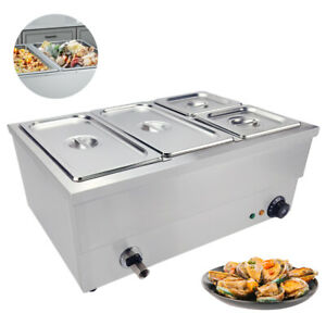 4 Pans Bain Marie Commercial Food Warmer Buffet Steam Table Steamer Countertop