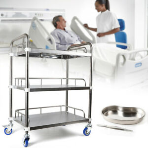 3layer Trolley Carts Stands Mobile Instrument Lab Clinic Vehicle Stainless Steel