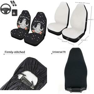 Wellflyhom Cute Sloth Car Seat Covers With Steering Wheel Cover Set Girly Floral