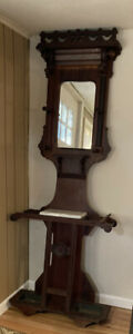 Antique Wood Victorian Hall Tree With Marble Top