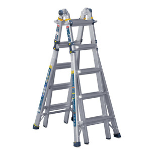 22 Ft Reach Aluminum 5 in 1 Multi position Pro Ladder With Powerlite Rails