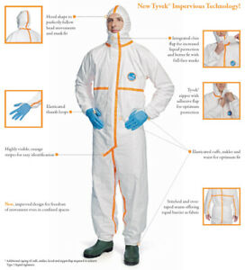 Case Of 20 Dupont Tyvek 800j Hooded Coveralls 3xl Hazmat Suit W Taped Seams