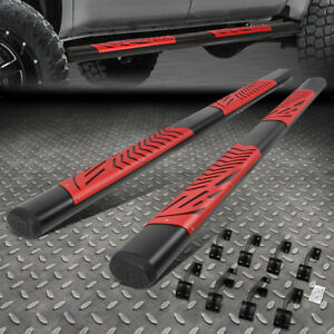 For 07 21 Toyota Tundra Crewmax Cab 5 Oval Black Step Bar Running Boards Red