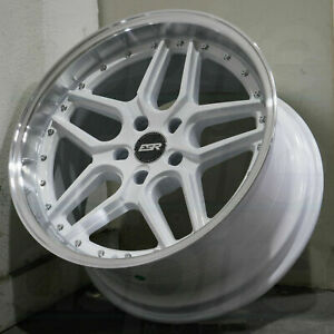 Esr Cs15 Wheels 18x9 5 22 5x100 Gloss White Machined Lip 18 Inch Rims Set 4
