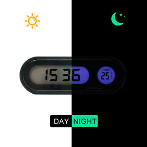 Auto Car Digital Lcd Electronic Time Clock Thermometer Watch W Backlight 12v