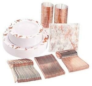 175pcs Rose Gold Marbling Disposable Plastic Plates And Silverware Set 25 Dinne