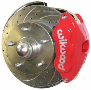 Sws Disc Brake Kit Front 62 67 Chevy Ii Oe Spindles 11 Drilled Red Wilwood Pads
