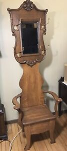 Antique Carved Hall Tree W Mirror Lift Up Storage Seat