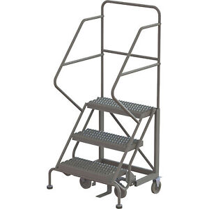 3 step Steel Rolling Ladder W serrated Steps Gry 30inh Top Step 24in 450lb Cap
