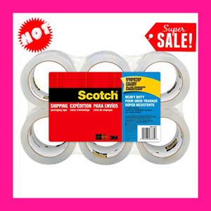 Scotch 6 Rolls Heavy Duty Shipping Packing Seal Tape 40x Stronger 3m 1 88 X 54 6