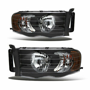 For 2002 2005 Dodge Ram 1500 2500 3500 Black Housing Amber Corner Headlights Set