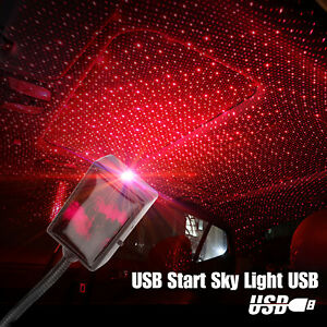 Usb Car Interior Led Roof Atmosphere Sky Lamp Starry Night Light Projector Red