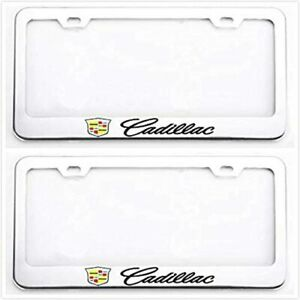 2x Stainless Steel Metal License Plate Tag Frame Cover Holder Sport For Cadillac