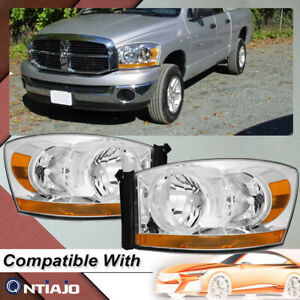 For 2006 2007 2008 Dodge Ram 1500 2500 3500 W chrome Bezel Headlights 06 08 Pair