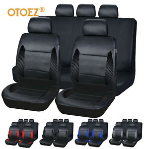 Car Seat Covers Full Set Waterproof Leather 2mm Sponge Universal Fit Most Auto