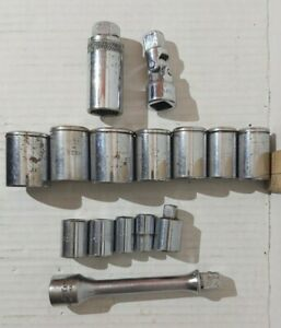 Lot Of 15 Vintage Fleet Tools Sockets 3 8 And 1 2 Drive Made In Usa See List