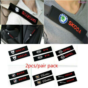 2pcs Set Car Logo Cotton Seat Belt Shoulder Pads Covers Emblems Fit For All Cars