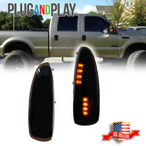 Smoked Lens Amber Led Side Mirror Light Lamps For 03 07 Ford F250 F350 Superduty